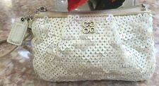 Coach Ivory Small Signature C Embossed Sequin Canvas Wristlet EUC