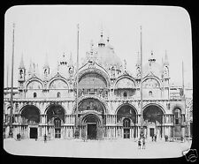 Glass Magic Lantern Slide ST MARKS FROM THE PIAZZA - VENICE C1890 ITALY