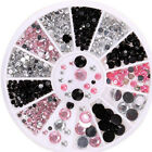 3D Nail Art Tips gems 3 COLORS Crystal Glitter Rhinestone DIY Decoration + Wheel