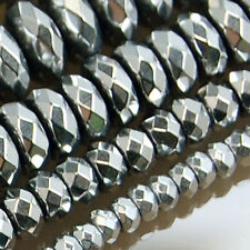 3mm 4mm 6mm 8mm 10mm Faceted Hematite Gemstone Rondelle Beads 16""