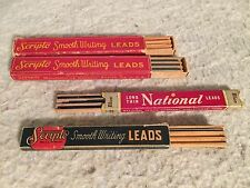 3 Boxes Vintage Scripto Lead  with Wooden Trays. 1 National Brand. USA.  Refill