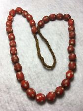 "Vintage Tibet Red & White Opaque Oval Glass ""Skunk"" Trade Bead Strand"