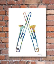 Trombone Abstract Watercolor Painting Jazz Music Art Print by Artist DJ Rogers