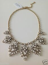 J. Crew Factory Stone Leaf Clusters Necklace NWT AUTHENTIC With Pouch