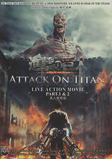 ATTACK ON TITAN Live Action Movie (Part 1 & 2) DVD with English Subtitle