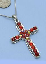 Red Cross Charm Rhinestone Crystal Rhinestone Necklace