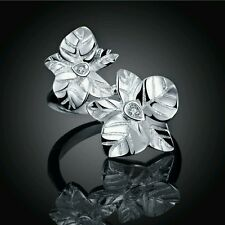 Silver Plated 925 Flowers Crystal CZ Engagement/Statement Ring. Size Q / 8. 773