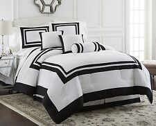 Chezmoi Collection Caprice 7-Piece White Black Hotel Block Comforter Set, Queen