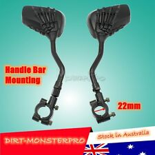 Black Skeleton skull claw Rear view Mirrors handle bar mounting 8mm 10mm motor
