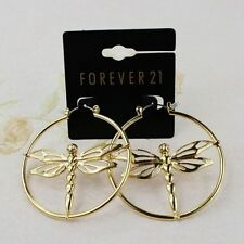 New Forever21 Dragonfly Hoop Dangle Earrings Gift FS Women's Jewelry Gold Tone
