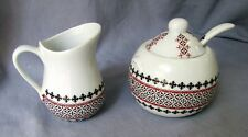 Ukrainian Porcelain Cream and Sugar Set w/ Spoon, Embroidery Design Red/Black #2