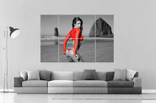 SEXY GIRL RED EROTIC ON THE BEACH  Wall Art Poster Grand format A0 Large Print
