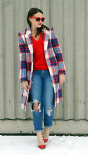 ZARA NWOT WOOL RED BLUE CHECKED LONG COAT OPEN FRONT SIZE Medium WINTER 2014
