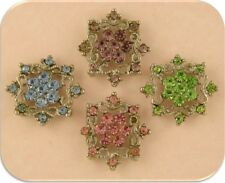 2 Hole Beads Flowers Snowflakes Multi Swarovski Crystal Elements Sliders QTY 4