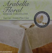 Arabella Floral Damask Green Tablecloth 70 in Round NIP