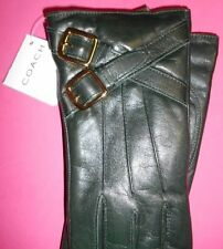 COACH WOMEN BUCKLES LEATHER GLOVES WRIST CASHMERE LINED WINTER SIZE 7 NEW $236