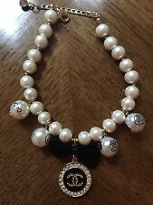 Dog Cats Necklace Medium  Collar 4 Hang Pearls 1 Charms Handmade  Female New