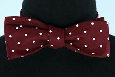 Polka Dot Mens Self Loop Bow Tie Tuxedo Wedding Fashion Burgundy Red Bowtie New