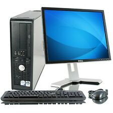 FAST REFURBISHED DELL INTEL DUAL CORE ALL IN ONE DESKTOP COMPUTER WIN 7 LCD MON