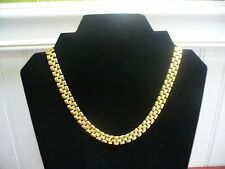 "Vintage Monet Goldtone Metal 17"" Smooth & Textured Tiny Link Chain Necklace"