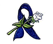 Colon Cancer T-Shirt XL Blue Awareness Ribbon Rose Embroidery S/S White New
