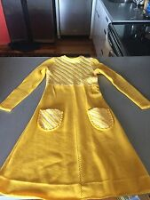 Vintage Pure Laine Yellow Wool Dress France New York Boutique Retro Super Cute