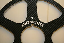 "2 X PIONEER BLACK FIBER SIX SPOKE METAL HUB CARBON  REEL TO REEL 10.5"" X 1/4"""