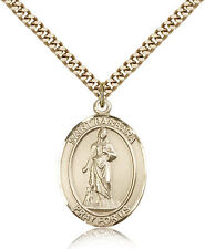 "Saint Barbara Medal For Men - Gold Filled Necklace On 24"" Chain - 30 Day Mone..."