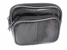 SOFT BLACK GENUINE LEATHER COIN POUCH PURSE CAMERA WALLET WITH BELT LOOP 74