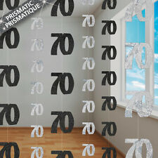 6 Happy 70th Birthday Black Sparkle Prismatic 5ft String Party Decorations