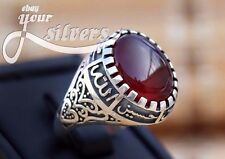 Mens Ring 925 STERLING SILVER GREAT AUTHENTIC Natural  Red AGATE AQEEQ stone M