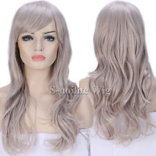 Trendy Ombre Long Cosplay Hair Wig Long Straight Curly Wavy Full Wig Black Red #