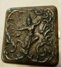 Vintage Antique signed Siam Sterling Silver Cigarette Case with Dancer lady-110g