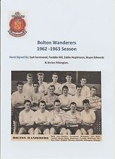 BOLTON WANDERERS 1962-1963 TEAM GROUP RARE ORIGINAL HAND SIGNED X 5 SIGNATURES