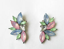 Light Pink Blue Mint Green Silver Faux Opal Earrings 1920s Diamante Stud 1671