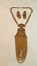 Miriam Haskell 1960s Goldtone neclace & earrings