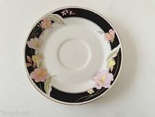 Lynns Fine China / China Pearl ALICE 8860 Lily Black Band Floral TEA CUP SAUCER