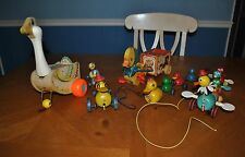 FISHER PRICE PULL TOY LOT MOTHER GOOSE 164 & MUSICAL DUCK 795 QUACK DUCK & MORE