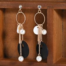 Stylish Women Wooden Geometric Shell Pearl Dangle Earrings Golden Tone Jewelry