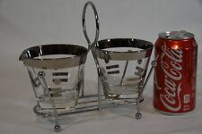 DOROTHY THORPE POLKA DOT SILVER BAND Sugar Bowl Creamer Chrome Carrier Vtg