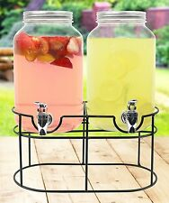 Estilo Glass Mason Jar Double Beverage Drink Dispenser On Metal Stand With Leak