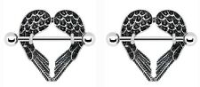 Body Accentz® Nipple Ring Angel Wings bar body Jewelry sold as Pair 14g CZ