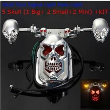 Chrome Skull Motorcycle Rear Turn Signal Tail Brake License Plate Light ATV Quad
