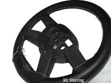 FOR DODGE RAM III 1500 BLACK LEATHER STEERING WHEEL COVER WHITE STITCH 2002-2008
