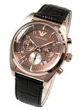 OROLOGIO ARMANI AR0371 MARRONE CHRONO BROWN  LEATHER NUOVO UOMO MAN PELLE