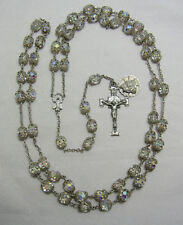 """† ENORMOUS VINTAGE STERLING & DOUBLE FILIGREE CAP ROSARY 39"""" NECKLACE 72 GRAMS †"""