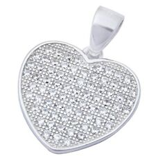 Fine Quality Pave Cz Heart .925 Sterling Silver Pendant 19x15mm