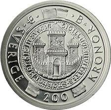 Schweden 200 Kronen Silbermünze 2002 Stgl. 750 Jahre Stockholm