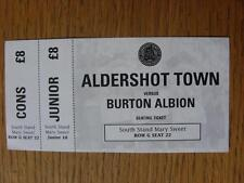 01/11/2011 BIGLIETTO: Aldershot città V Burton Albione
