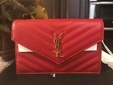 YSL SAINT LAURENT MONOGRAM SMALL GRAINED RED WALLET ON CHAIN CROSSBODY BAG